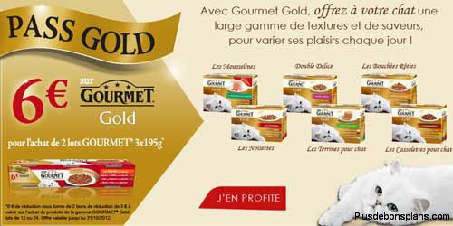gourmet gold alimentation pour chat 6 euros rembours s en bons d 39 achat. Black Bedroom Furniture Sets. Home Design Ideas