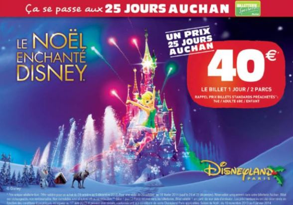 entr e disney no l 2013 pas ch re 25 jours auchan 1 j 2 parcs 40. Black Bedroom Furniture Sets. Home Design Ideas