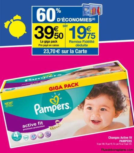 Carrefour pampers active fit giga pack 60 au lieu de - Promo couche pampers carrefour ...