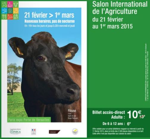 r duction salon de l agriculture 2015 entr e moins ch re. Black Bedroom Furniture Sets. Home Design Ideas