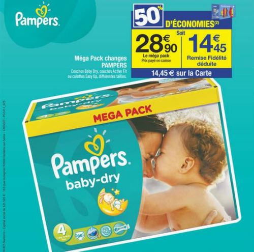 Couches pampers chez carrefour 50 d 39 conomies - Promo couche pampers carrefour ...