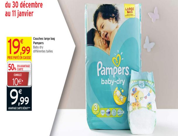 Promo couches pampers baby dry intermarch 50 - Couches pampers en promo ...