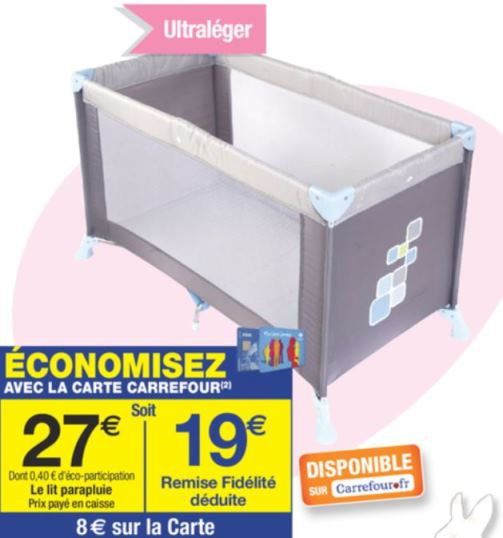 lit parapluie soft dreams chez carrefour pour 19. Black Bedroom Furniture Sets. Home Design Ideas