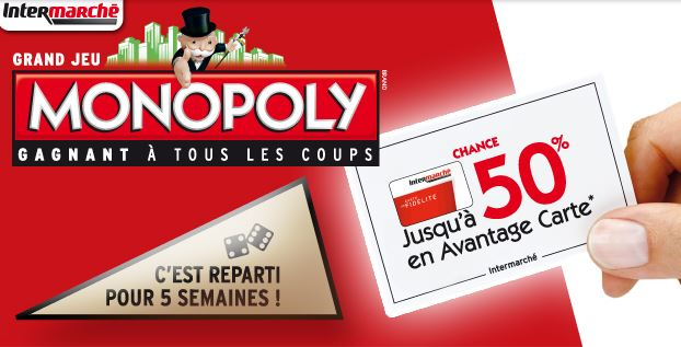 monopoly intermarch 2016 des millions de lots gagner. Black Bedroom Furniture Sets. Home Design Ideas