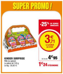 oeuf kinder surprise chez super u