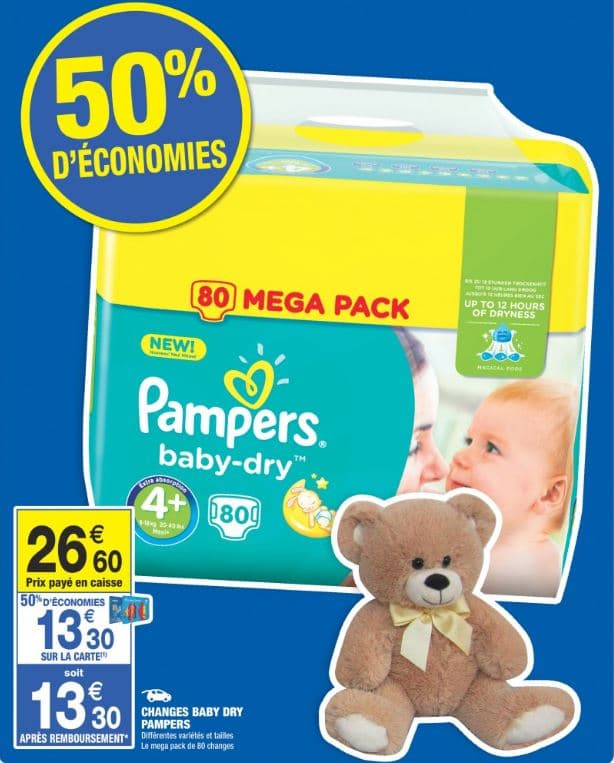 Couches pampers carrefour market 60 odr 2 pack de 70 - Carrefour promotion couches pampers ...