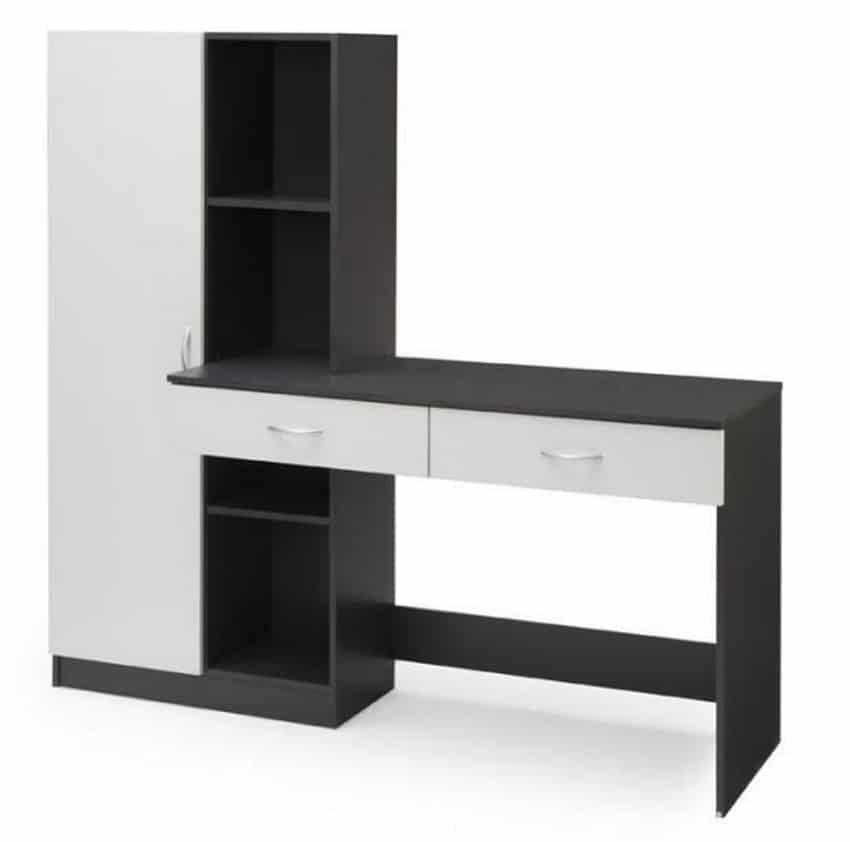 bureau 160 cm optim gris 133 95 sur cdiscount. Black Bedroom Furniture Sets. Home Design Ideas
