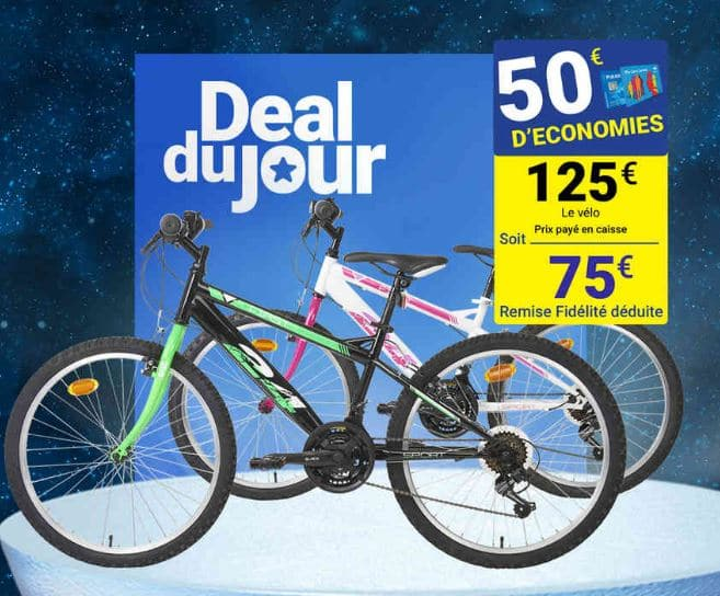 deal du jour carrefour v lo 24 pouces 18 vitesses pour 75. Black Bedroom Furniture Sets. Home Design Ideas