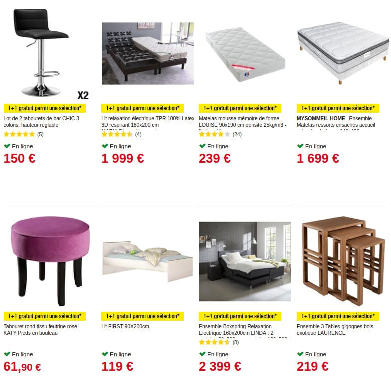 auchan 1 achet 1 gratuit sur une s lection au rayon meuble. Black Bedroom Furniture Sets. Home Design Ideas