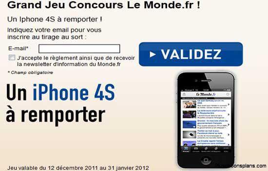 gagner iphone 4s avec le jeu concours le monde