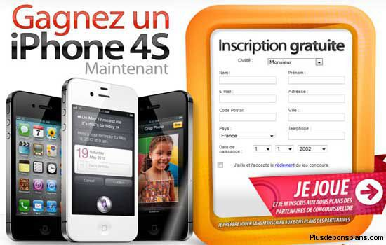 iphone 4s à gagner avec concoursdeluxe