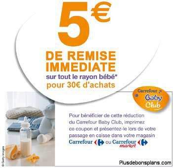 carrefour baby club 5 euros de réduction