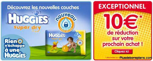 10 euros de réduction couches huggies