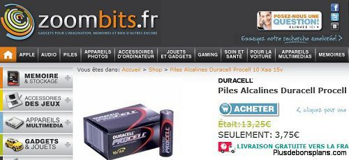 bon plan piles duracell alcaline procell aa lot de 10 au lieu de. Black Bedroom Furniture Sets. Home Design Ideas