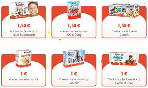 bons réduction kinder