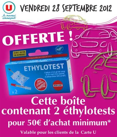 ethylotest offert chez super u