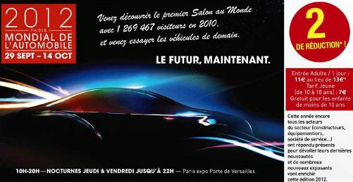 promo places mondial de l'automobile 2012