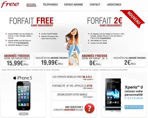 forfaits free mobile sans engagement