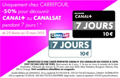 carte pr pay e canal 7 jours en promo 5 au lieu de 10. Black Bedroom Furniture Sets. Home Design Ideas