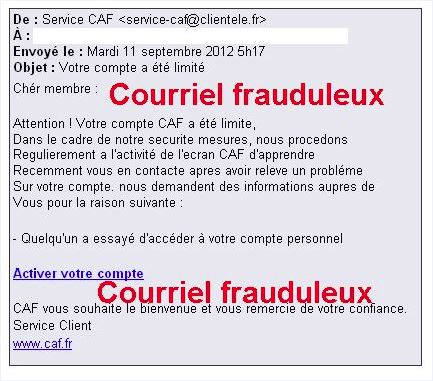 exemple de mail caf frauduleux