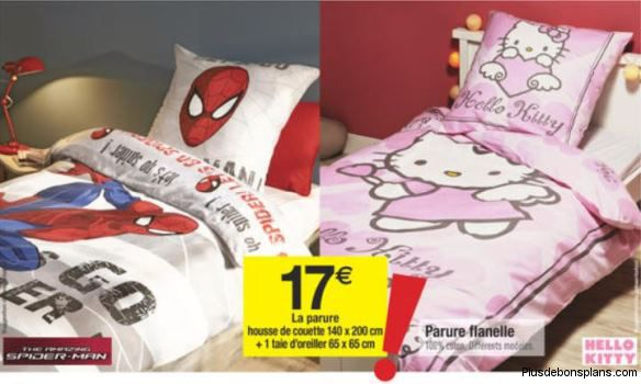 parure de lit enfant moins cher spiderman et hello kitty. Black Bedroom Furniture Sets. Home Design Ideas
