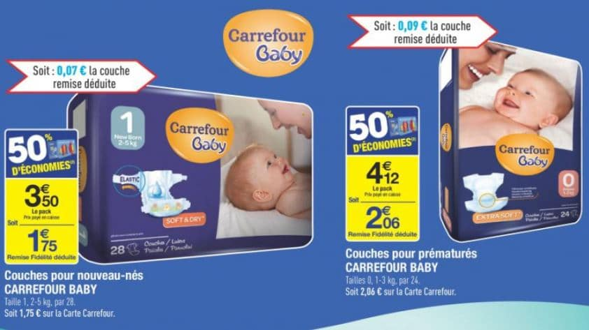 Couches carrefour baby moins ch res pack taille 1 en 28 pour - Couche pampers premature ...