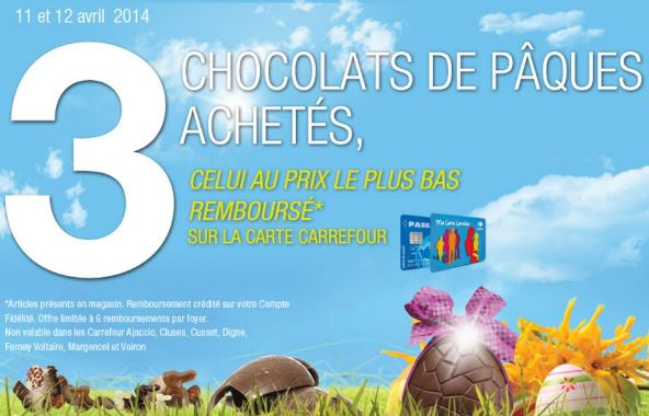 carrefour promo pour p ques 3 me chocolat 100 rembours. Black Bedroom Furniture Sets. Home Design Ideas