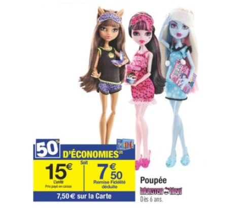 Poupée monster high à 7,5€ chez Carrefour