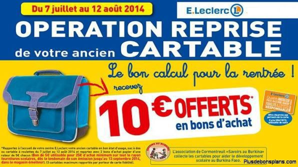 reprise cartable leclerc