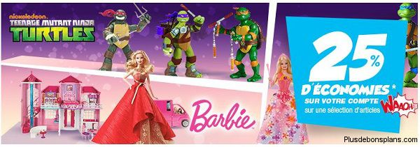 réduction auchan sur barbie et tortues ninja