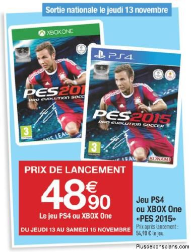 pes 2015 ps4 xbox one chez carrefour