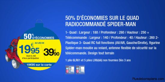 Carrefour Deals le quad spiderman radiocommande à moité prix
