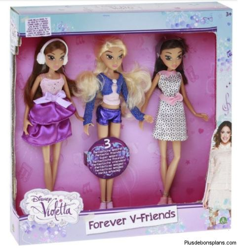 coffret 3 poup es disney violetta forever v friends pour. Black Bedroom Furniture Sets. Home Design Ideas