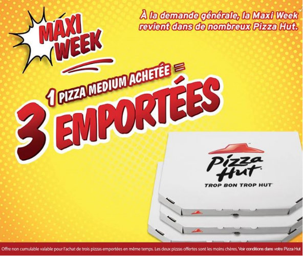 promotion maxi week chez pizza hut