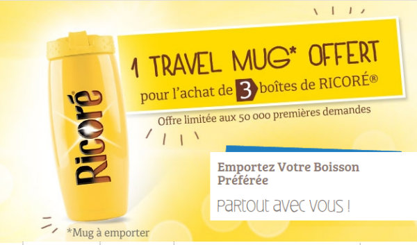 1 travel mug ricore offert