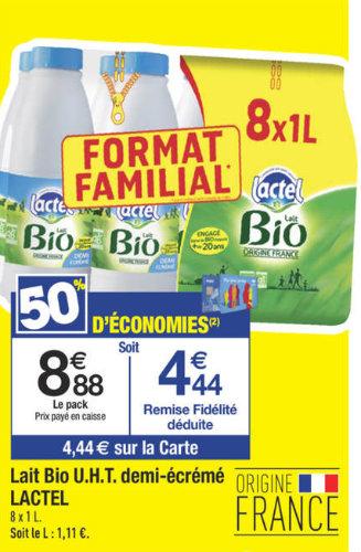 promotion sur le lait lactel bio carrefour