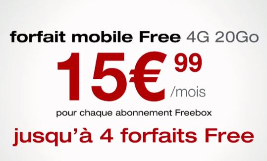 4 forfaits mobiles disponibles par freebox