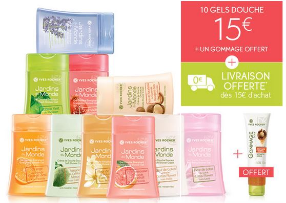 lot 10 gels douche yves rocher