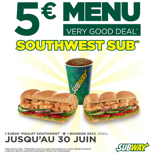 subway menu southwest sub 5 euros