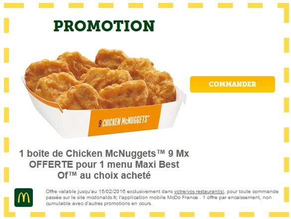 9 Chicken Mc Nuggets offerts pour 1 menu Maxi Best Of