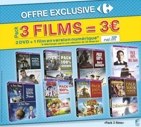 pack de 3 films à 3 € chez Carrefour