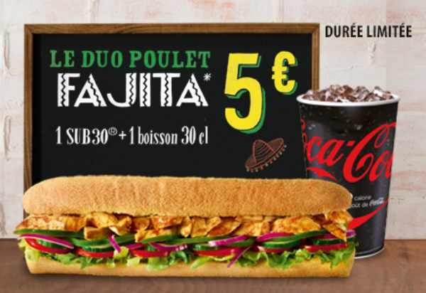 menu DUO Poulet Fajita à 5€ chez Subway