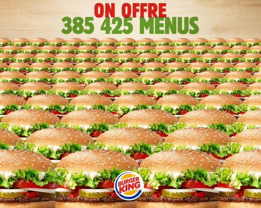 menu burger king gratuit