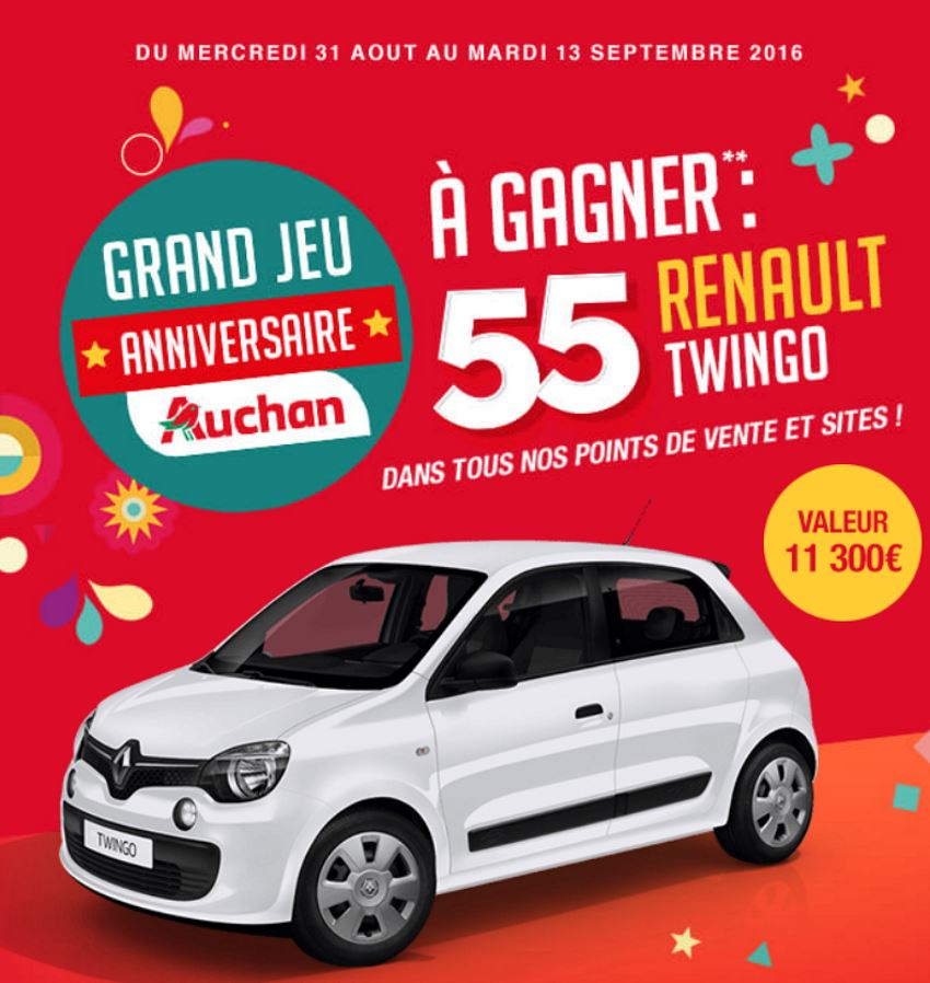 concours auchan 55 ans 55 renault twingo gagner. Black Bedroom Furniture Sets. Home Design Ideas