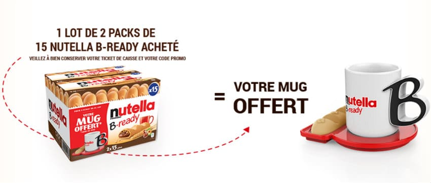 1 mug nutella offert pour l'achat d'un lot de 2 packs de 15 nutella b-ready