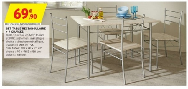 Intermarché : set table rectangulaire + 4 chaises à 69,90€