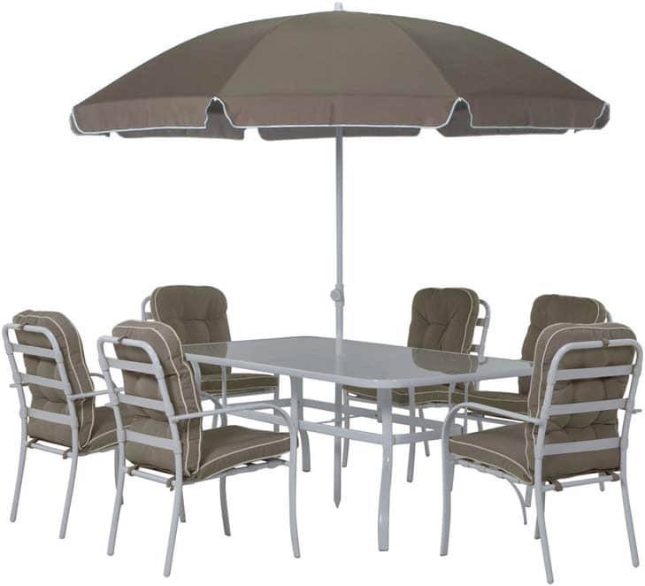 leclerc salon de jardin pour 6 personnes parasol 199. Black Bedroom Furniture Sets. Home Design Ideas