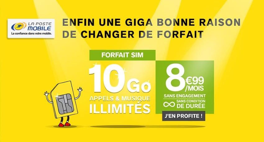Forfait SIM 10 Go appels & musique illimités à 8,99 € par mois sans condition de durée et sans engagement chez La Poste Mobile