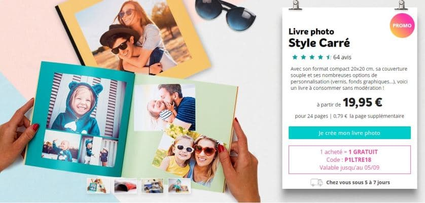 Livre photo style Carré 24 pages gratuit sur Photoweb