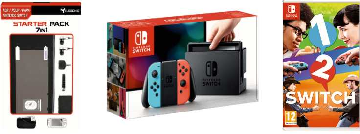 auchan nintendo switch jeu 1 2 switch lot 7 accessoires 329 99. Black Bedroom Furniture Sets. Home Design Ideas